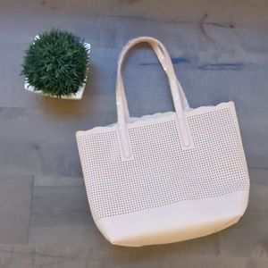 Neiman Marcus   blush pink scalloped tote NWOT